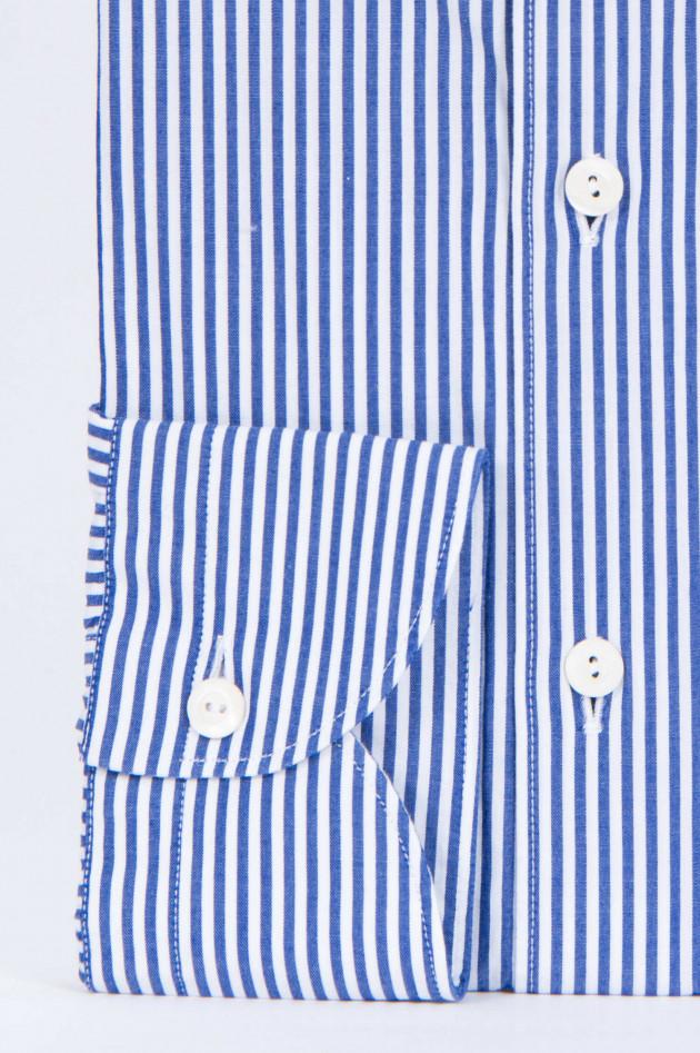 Tintoria Mattei 954 Baumwollhemd in Blau/Weiß gestreift