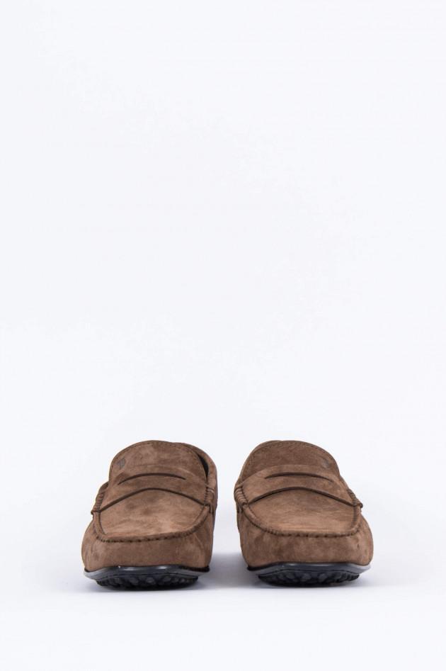 Tod's Loafer aus Veloursleder in Maroni
