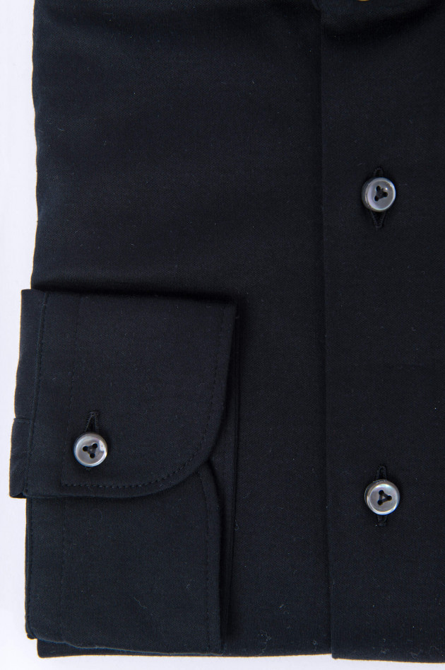 Van Laack Jerseyhemd in Schwarz
