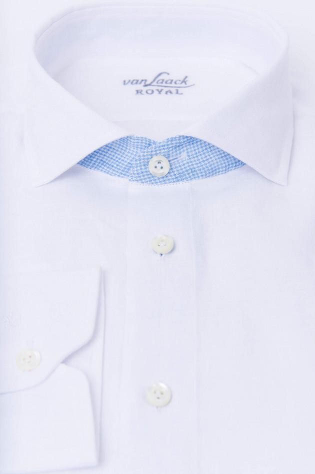 Van Laack Leinenhemd mit Kontrast-Karo in Weiß