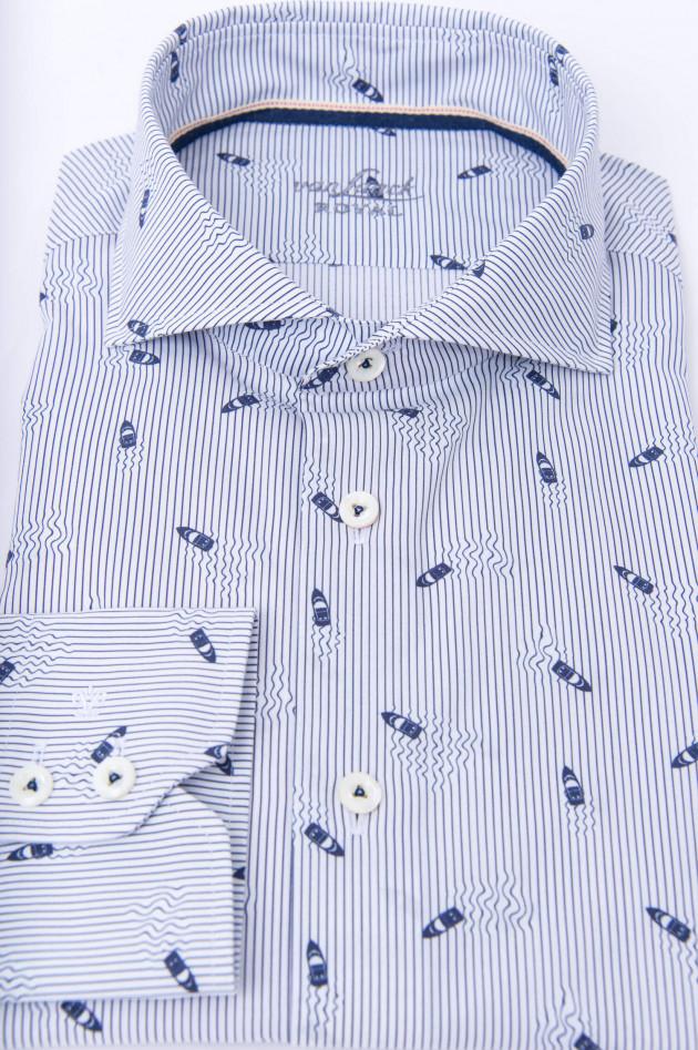 Van Laack Hemd mit Motorbootprint in Weiß/Blau