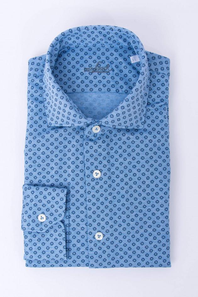 Van Laack Hemd mit Micromuster in Blau