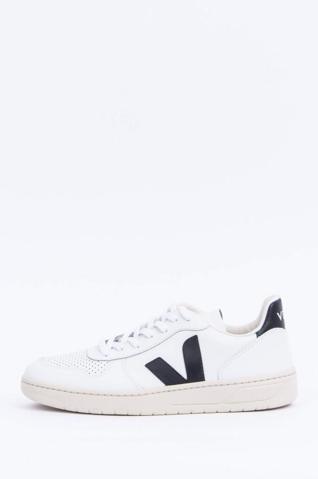 Veja Leder-Sneaker V10 in Weiß/Schwarz