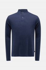 Polo Shirt aus Leinen-Mix in Navy