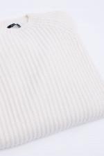 Rippstrickpullover aus Schurwolle in Weiß