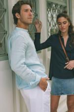 Leinenhemd mit Stehkragen in Hellblau