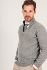 Zipp - Pullover in Grau