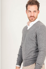 V - Pullover aus Cashmere in Grau