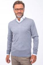 Merino-Pullover mit V-Neck in Grau