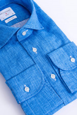 Leinenhemd in Blau meliert