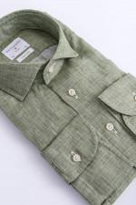Leinenhemd in Oliv meliert