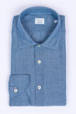Hemd aus Leinenmix in Jeansblau