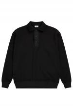 Hemd aus Waffelstrick in Schwarz