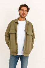 Jacke mit aufgesetzten Taschen in Oliv