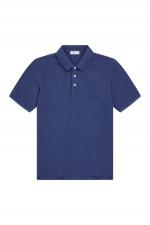 Polo Shirt mit Logo-Stitching in Blau
