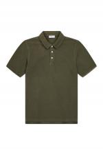 Polo Shirt mit Logo-Stitching in Khaki