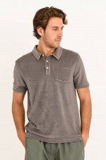 Frottee Polo in Grau
