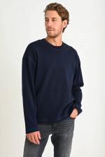 Rundhals Sweater in Dunkelblau