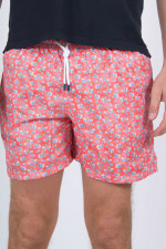 Florale Badehose mit Animalprint in Orange