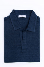 Kurzarm Leinenhemd in Navy meliert