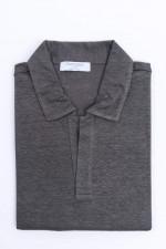 Kurzarm Leinenhemd in Graugrün meliert