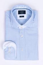 Hemd mit Kontrast-Details in Hellblau gestreift