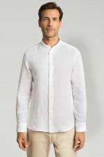 Leinenhemd mit Stehkragen in Weiß