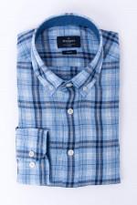 Leinenhemd im Karo-Design in Blau