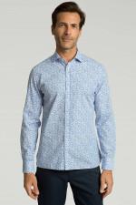 Baumwollhemd mit Dschungel-Print in Blau/Weiß