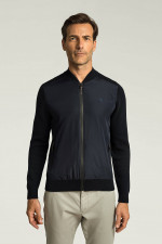 Jacke aus Material-Mix in Navy
