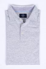 Poloshirt aus Baumwoll-Leinen-Mix in Hellgrau
