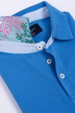 Poloshirt mit dezentem Korallenmuster in Blau