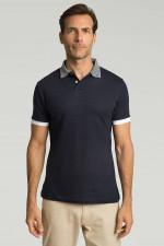 Poloshirt mit Streifen-Kragen in Navy/Weiß