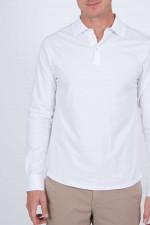 Langarmpoloshirt in Weiß