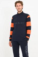 Gestreiftes Rugby Shirt in Navy/Orange