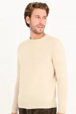 Pullover mit Rundhas in Natur