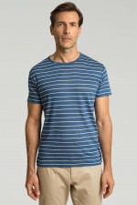 Gestreiftes Leinenshirt in Blau/Weiß