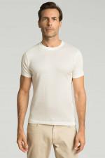 Rundhalsshirt mit Piqué-Struktur in Weiß