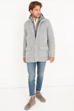 Jacke aus Strick-Stepp-Mix in Grau