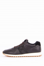Leder-Sneaker H86RUN in Schwarz