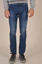 Jeans mit Logo-Nähten in Mittelblau