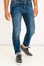 Jeans mit Kontrastnaht in Dunkelblau