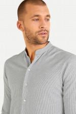 Gestreiftes Jerseyhemd in Weiß/Grau