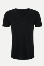 T-Shirt mit V-Ausschnitt in Schwarz
