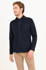 Jacke aus Schurwolle in Navy