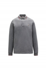 Langarm Poloshirt mit Kontrast-Streifen in Grau