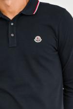 Langarm Poloshirt mit Kontrast-Streifen in Navy