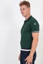 Poloshirt mit Lochstrick in Grün