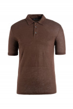 Polo-Shirt aus Leinen in Coffee