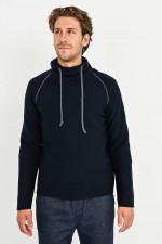 Walkstoff-Sweater in Navy